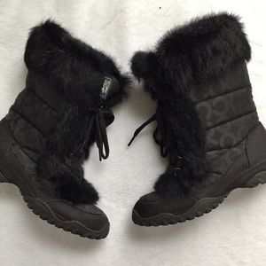 Coach black Jennie winter boots with fur